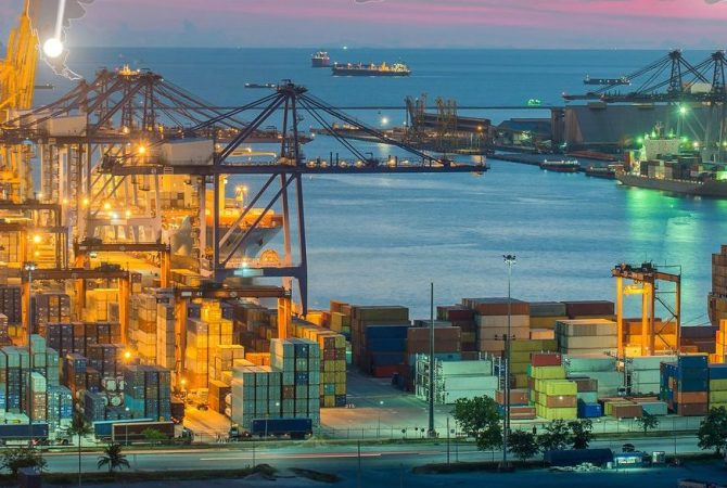 Map global logistics partnership connection of Container Cargo freight ship for Logistics Import Export background, Global logistics network transportation maritime shipping